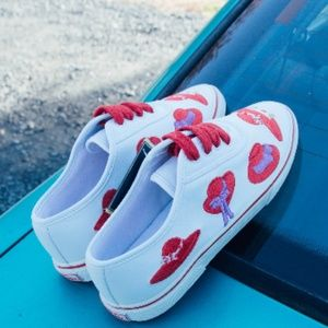 White Sneakers with Red Hat Details Size 7